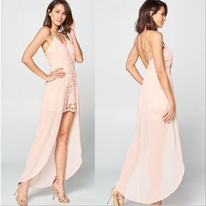 BLUSH LACE ROMPER WITH SHEER MAXI SKIRT